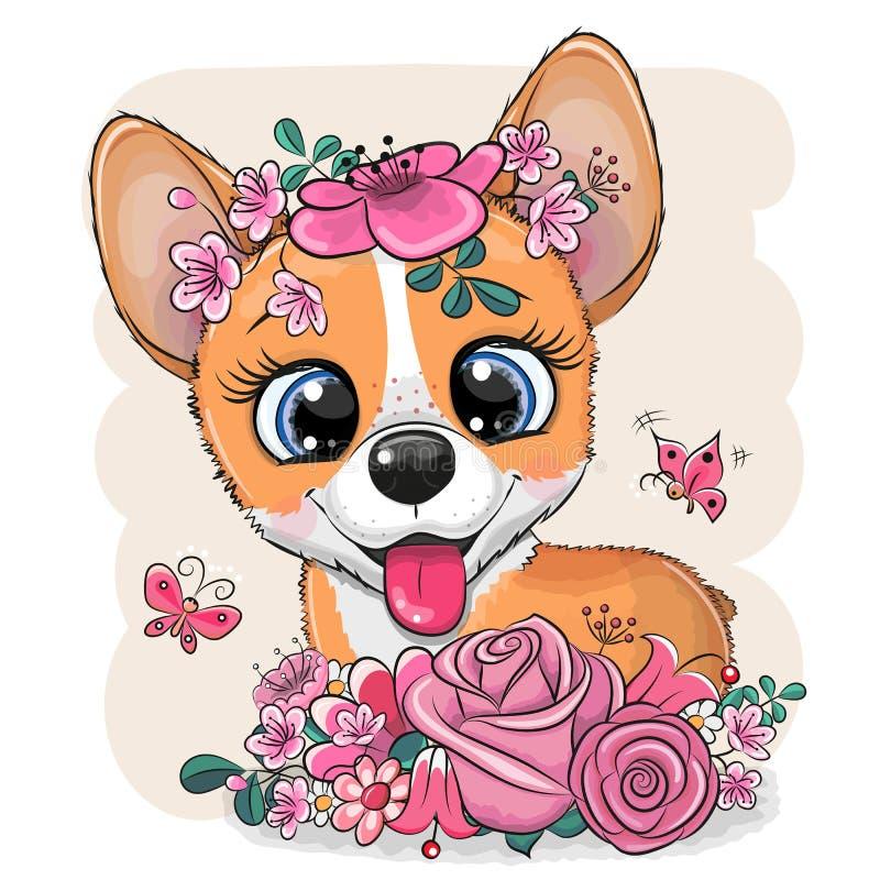 Beeldverhaal Corgi met bloemen op een witte achtergrond vector illustratie