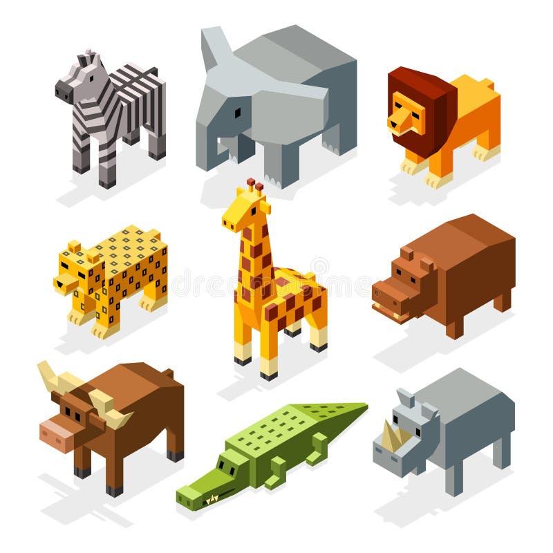 Beeldverhaal 3D isometrische Afrikaanse dieren Vectorset van tekens stock illustratie