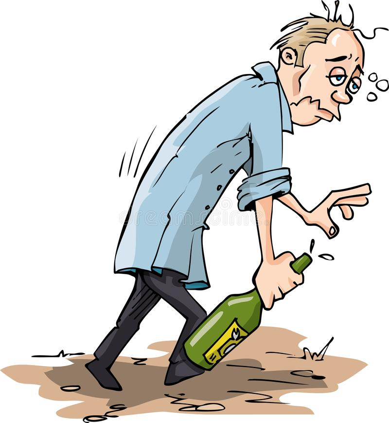 Beeldverhaal dat met een fles wordt gedronken vector illustratie