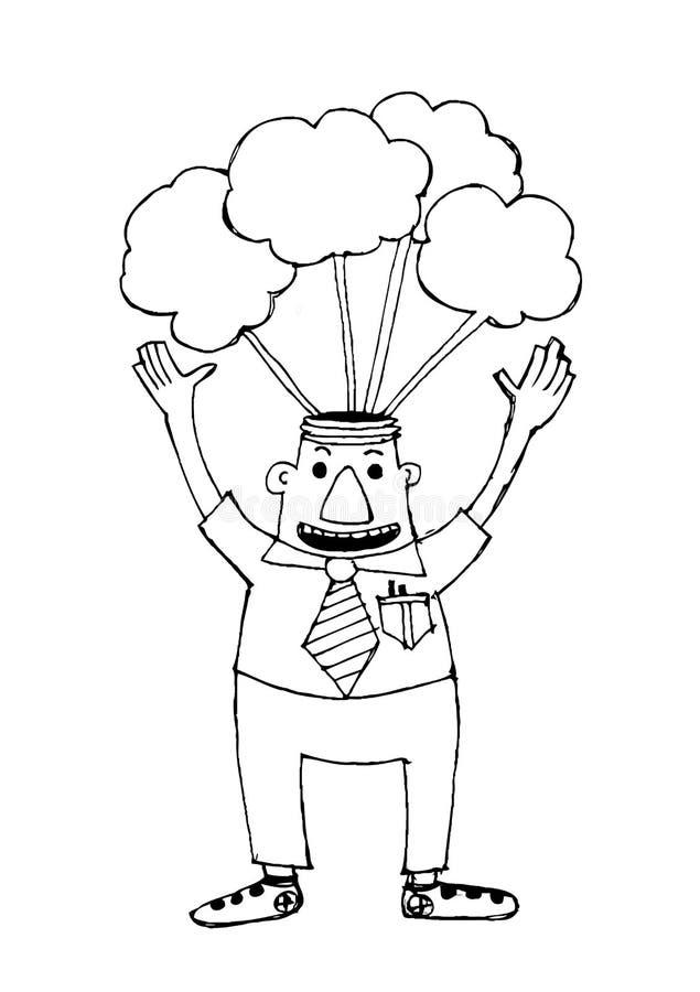 Beeldverhaal de bedrijfsmens denkt idee stock illustratie