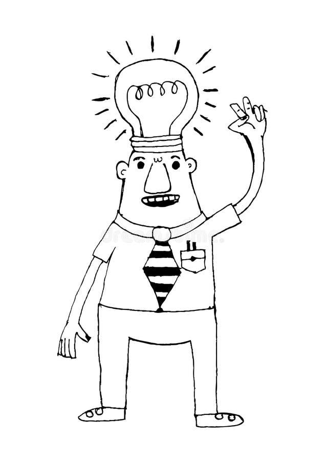 Beeldverhaal de bedrijfsmens denkt idee vector illustratie