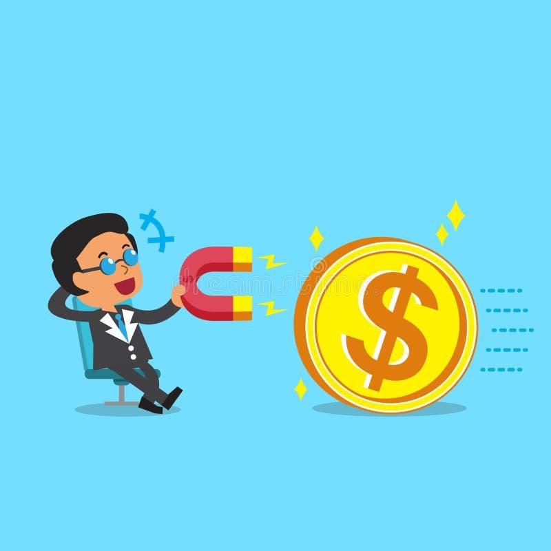 Beeldverhaal de bedrijfswerkgever die een magneet gebruiken trekt groot geldmuntstuk aan vector illustratie