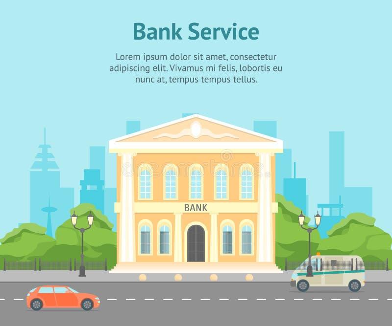 Beeldverhaal de Bouwbank op een van het Achtergrond stadslandschap Kaartaffiche Vector royalty-vrije illustratie