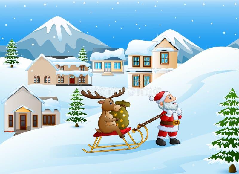 Beeldverhaal de grappige Kerstman die rendier op een ar met zak van giften trekken royalty-vrije illustratie