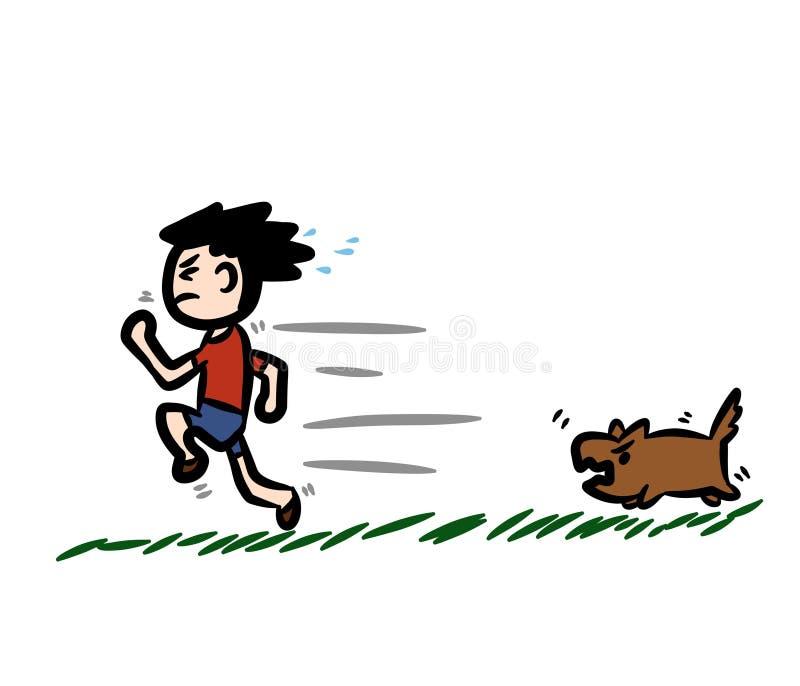 Beeldverhaal de jongen die vanaf de hond in werking wordt gesteld royalty-vrije illustratie
