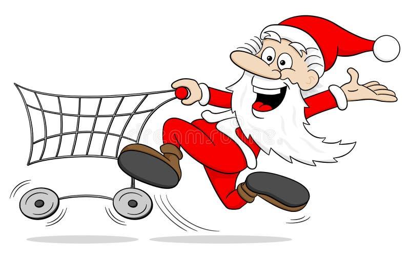 Beeldverhaal de Kerstman bij Kerstmis het winkelen royalty-vrije illustratie