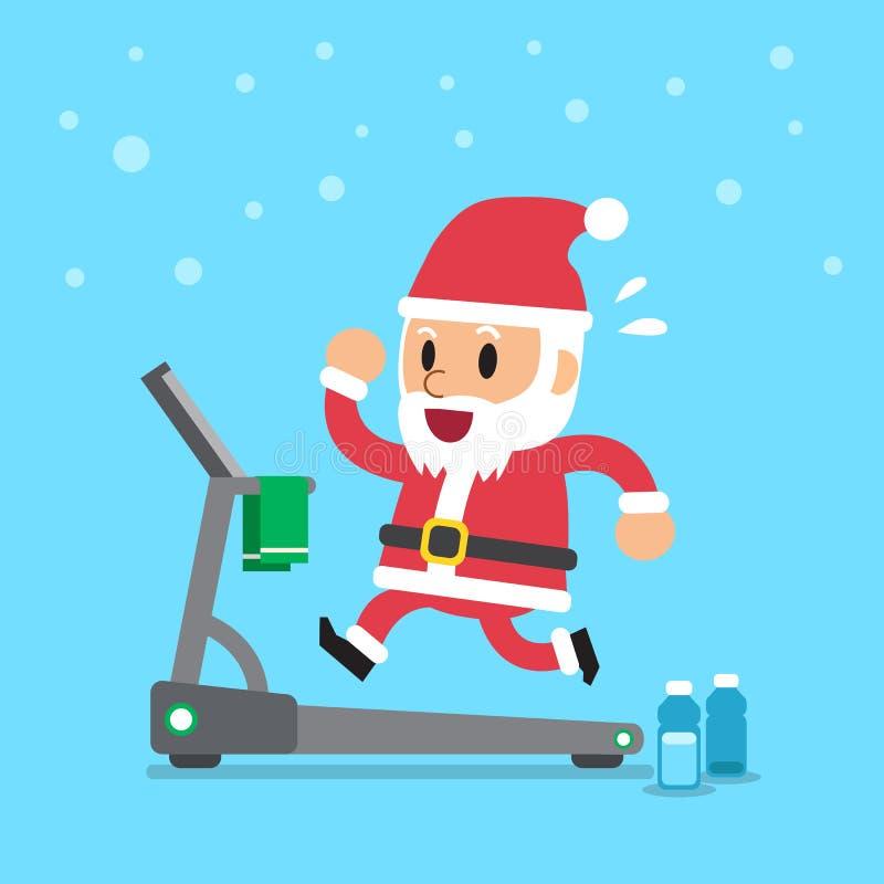 Beeldverhaal de Kerstman die op tredmolen lopen royalty-vrije illustratie
