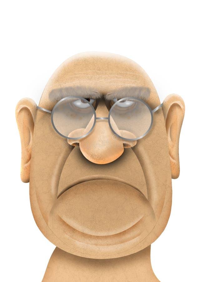Beeldverhaal dichte omhooggaand van een knorrig oud mensen` s gezicht vector illustratie