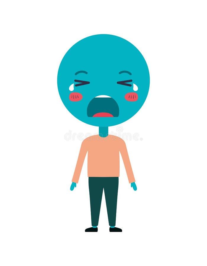 Beeldverhaal die emoticon met het karakter van lichaamskawaii schreeuwen vector illustratie