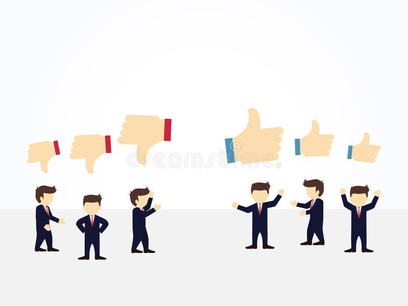 Beeldverhaal die kleine mensen met gelijkaardige en afkeertekens werken Vectorillustratie voor bedrijfsontwerp en infographic stock illustratie