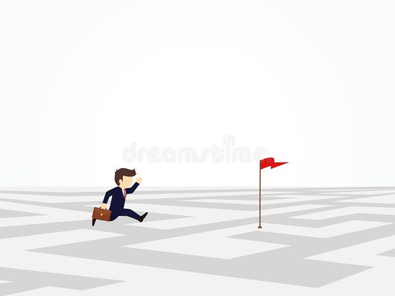 Beeldverhaal die kleine mensen werken die alleen boven labyrint naar navigatievlag lopen bedrijfsontwerp en royalty-vrije illustratie
