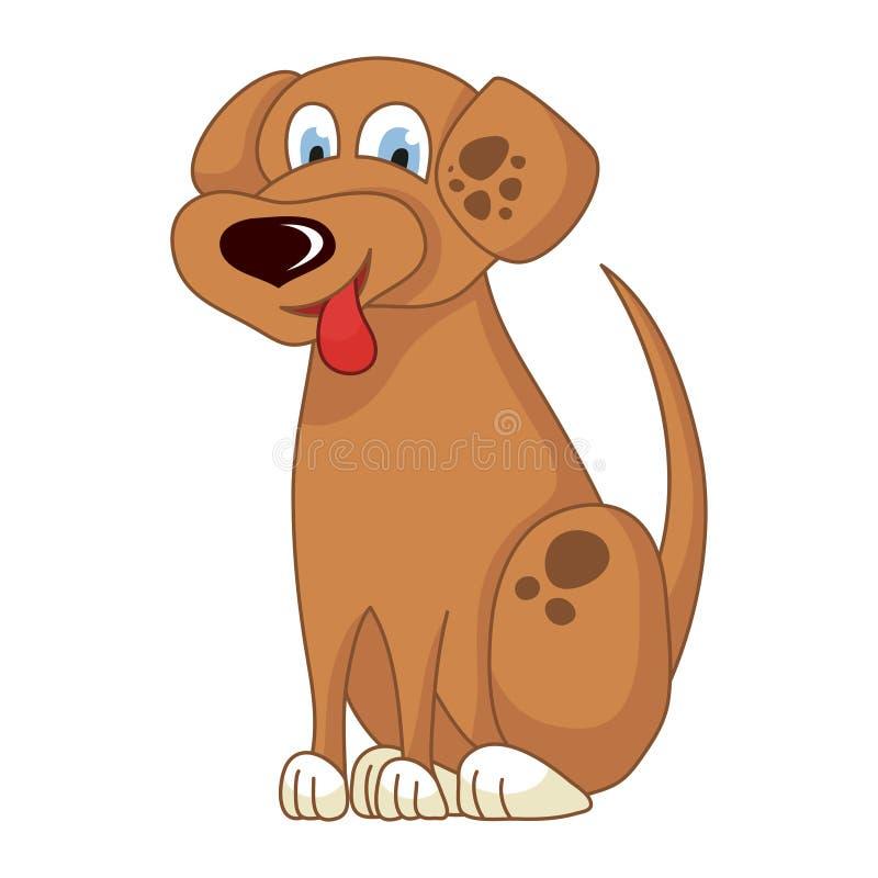 Beeldverhaal die lichtbruin spotty puppy, vectorillustratie glimlachen van leuke ongehoorzame hond stock illustratie