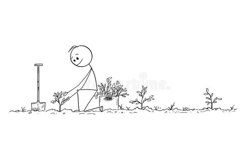 Beeldverhaal die van de Mens die Kleine Bomen planten, tot Bos voor Toekomst, Aard, Milieu en Ecologieconcept leiden royalty-vrije illustratie