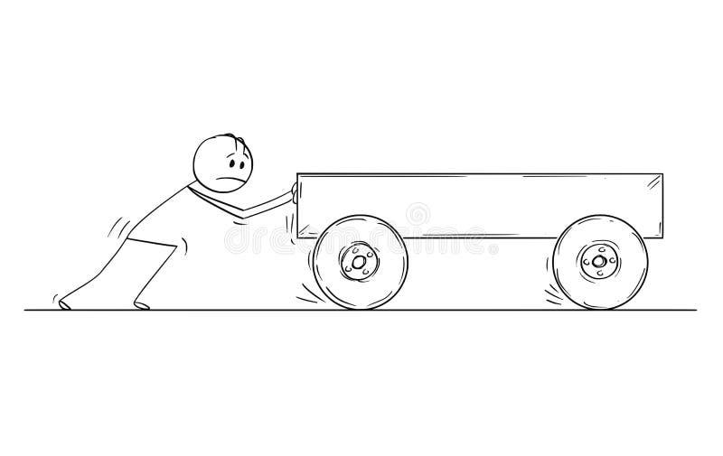 Beeldverhaal die van de Mens Lege Kar duwen vector illustratie