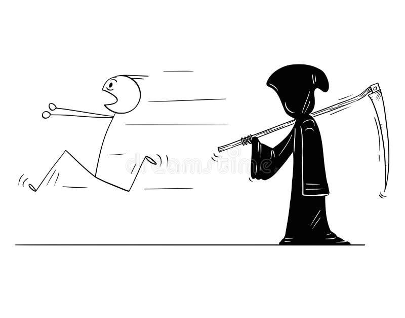 Beeldverhaal die van de Mens vanaf Onverbiddelijke Maaimachine of Dood met Zeis lopen royalty-vrije illustratie
