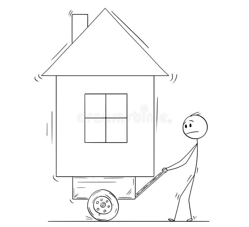 Beeldverhaal die van de Mens Zijn Huis op Stootkar of Kar duwen vector illustratie