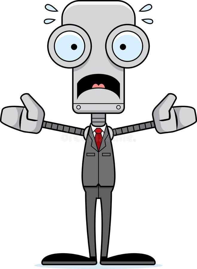 Beeldverhaal Doen schrikken Businessperson Robot stock illustratie