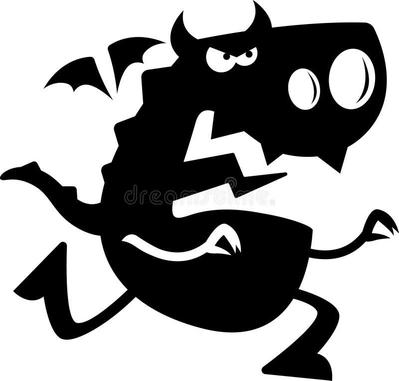 Beeldverhaal Dragon Silhouette Charging vector illustratie