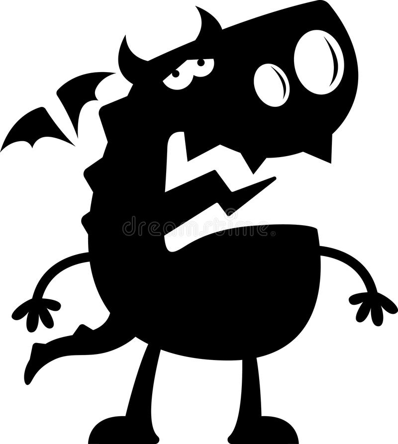 Beeldverhaal Dragon Silhouette Sad vector illustratie