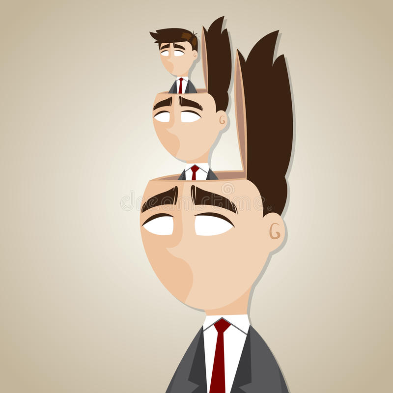 Beeldverhaal dubbele zakenman in zijn hoofd royalty-vrije illustratie