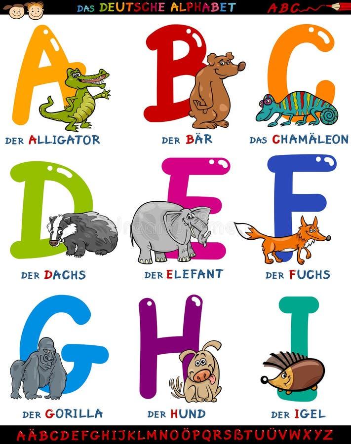 Beeldverhaal Duits alfabet met dieren royalty-vrije illustratie