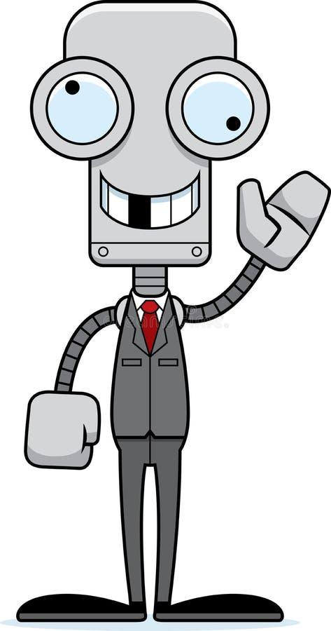 Beeldverhaal Dwaze Businessperson Robot royalty-vrije illustratie