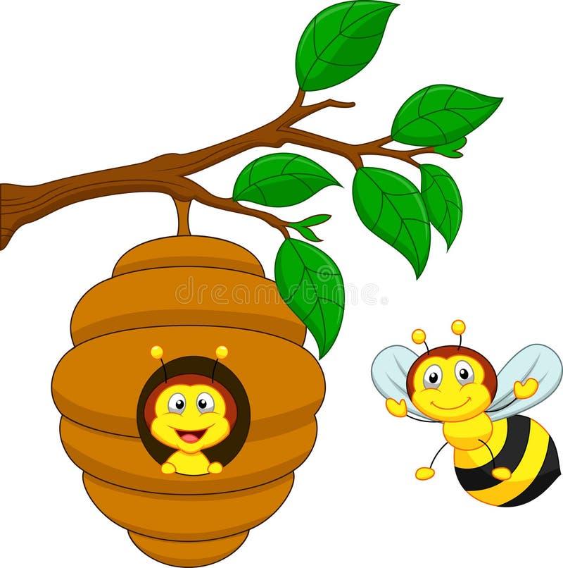 Beeldverhaal een honingbij en een kam royalty-vrije illustratie