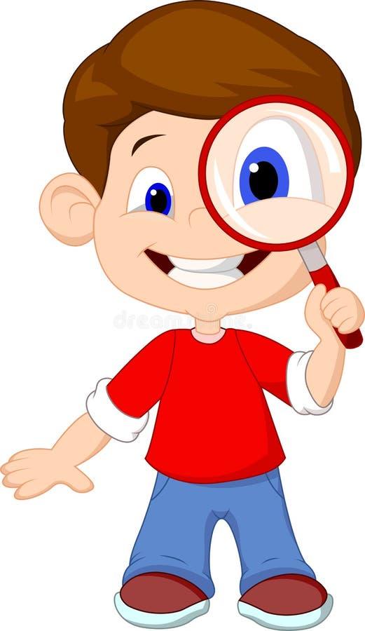 Beeldverhaal een jongen en meer magnifier stock illustratie