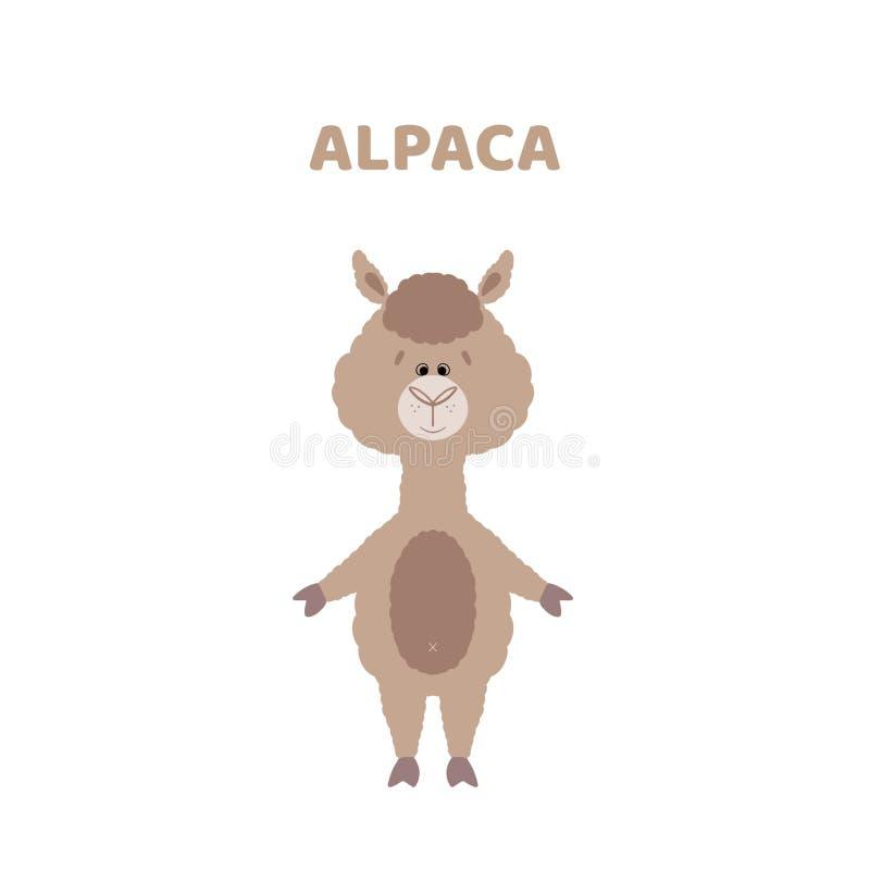 Beeldverhaal een leuke en grappige alpaca vector illustratie