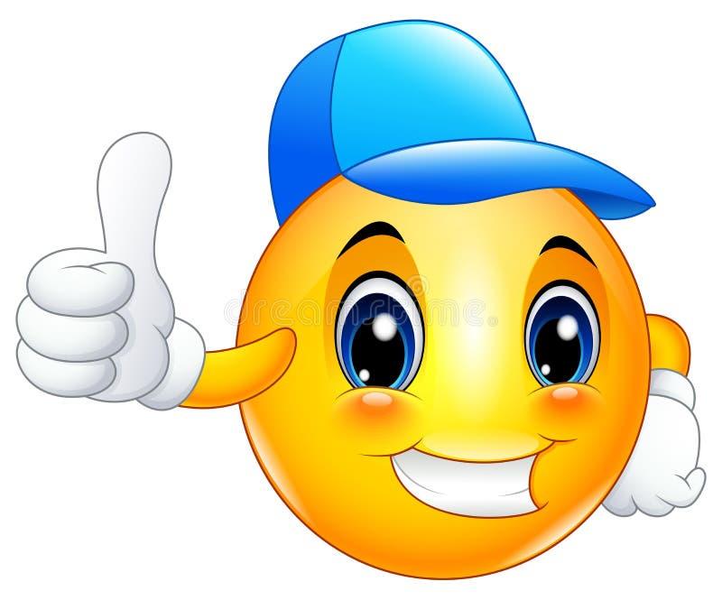 Beeldverhaal emoticon smiley die een GLB en geven omhoog dragen duimen royalty-vrije illustratie