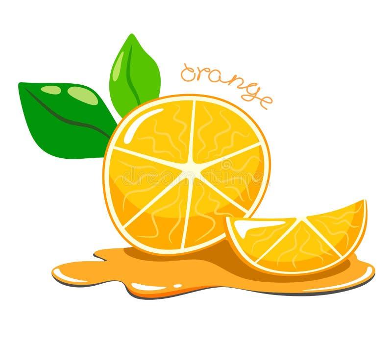 Beeldverhaal en sappige sinaasappel met een oranje plak in het sap Vector en helder isoleer op witte achtergrond stock illustratie