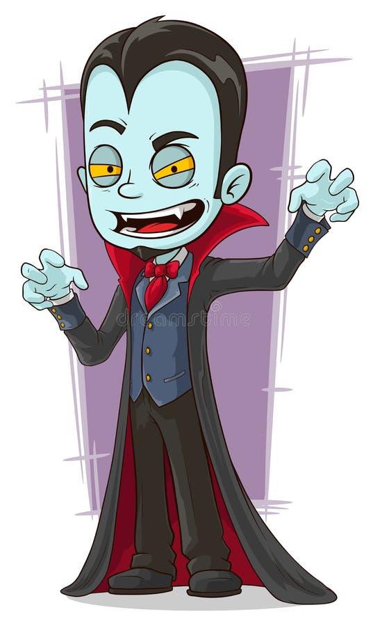 Beeldverhaal enge vampier met hoektanden royalty-vrije illustratie