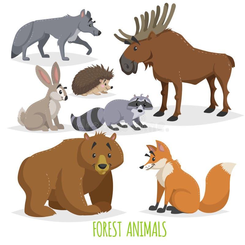 Beeldverhaal Forest Animals Set Wolf, egel, Amerikaanse elanden, hazen, wasbeer, beer en vos Grappige grappige schepselinzameling royalty-vrije illustratie