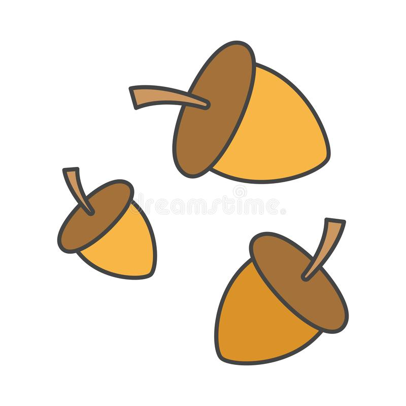 Beeldverhaal Forest Ripe Acorns Isolated Illustration stock illustratie