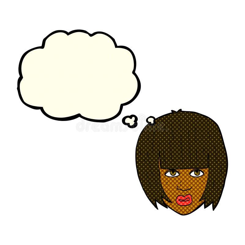 beeldverhaal geërgerd meisje met groot haar met gedachte bel vector illustratie