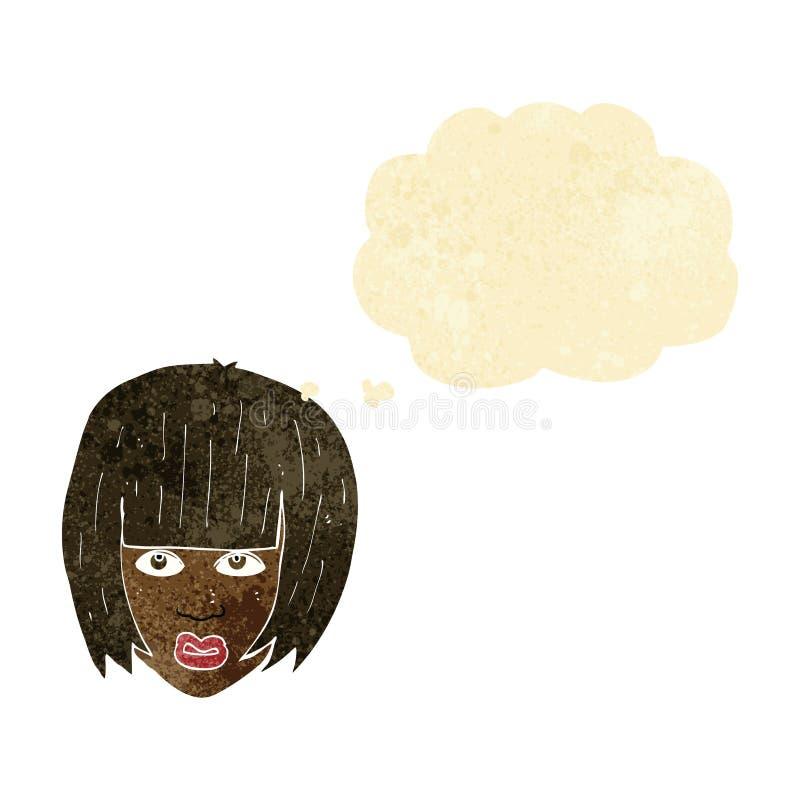 beeldverhaal geërgerd meisje met groot haar met gedachte bel royalty-vrije illustratie