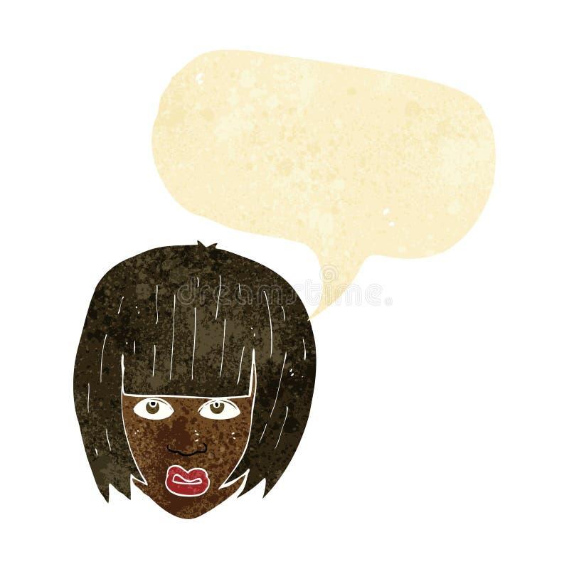 beeldverhaal geërgerd meisje met groot haar met toespraakbel vector illustratie