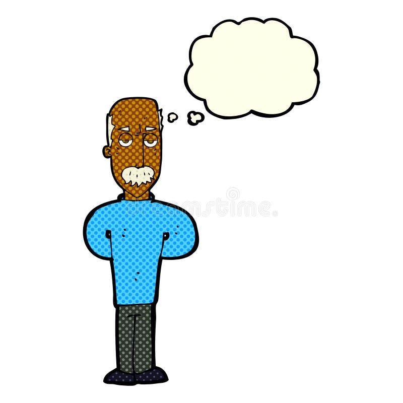 beeldverhaal geërgerde balding mens met gedachte bel vector illustratie