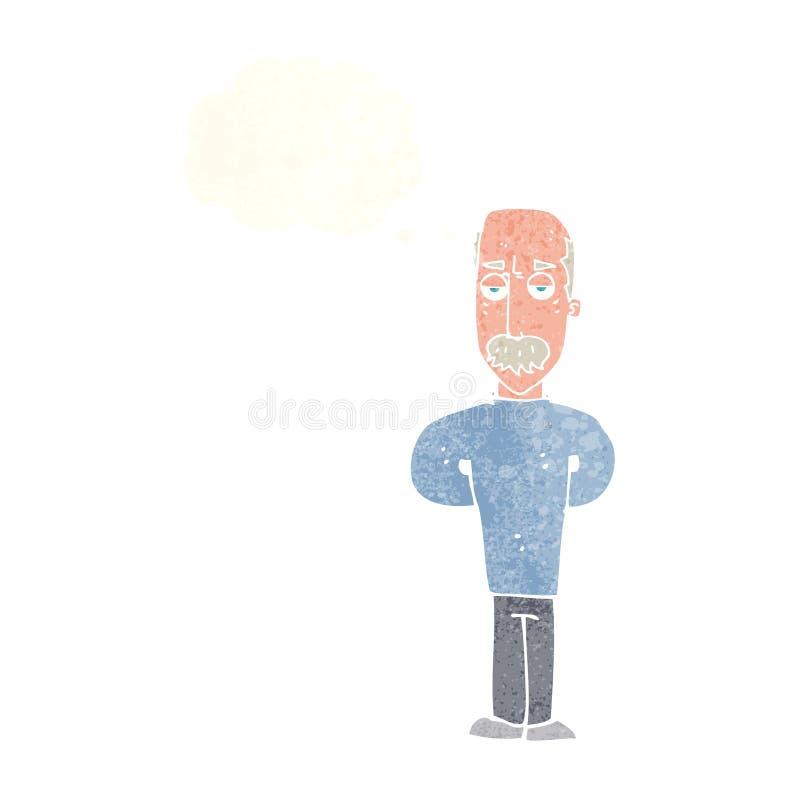 beeldverhaal geërgerde balding mens met gedachte bel royalty-vrije illustratie
