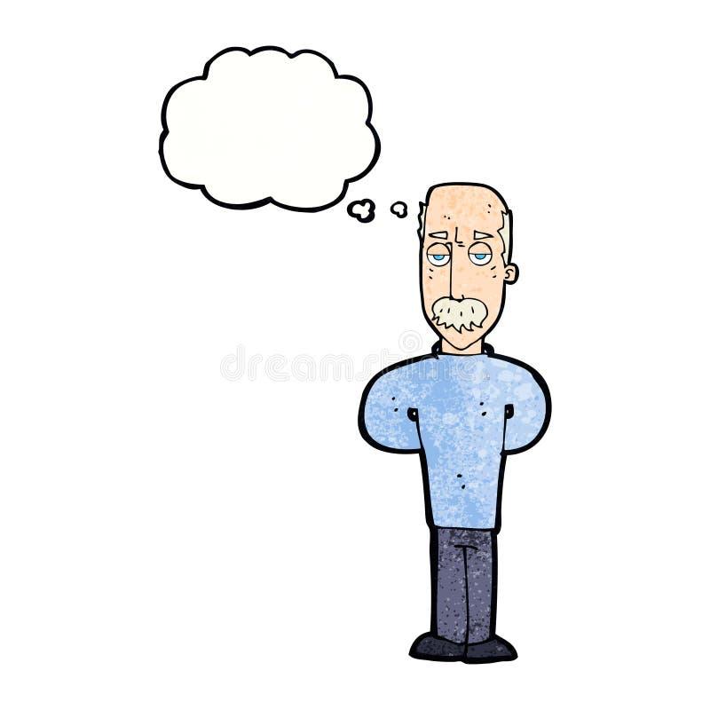beeldverhaal geërgerde balding mens met gedachte bel stock illustratie