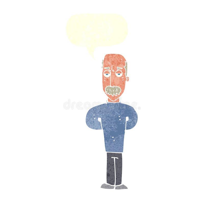 beeldverhaal geërgerde balding mens met toespraakbel stock illustratie