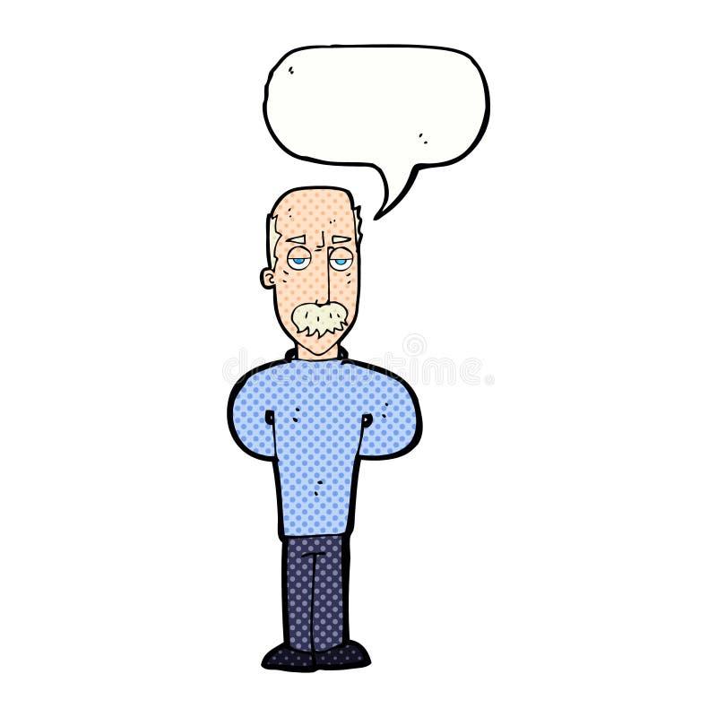 beeldverhaal geërgerde balding mens met toespraakbel vector illustratie