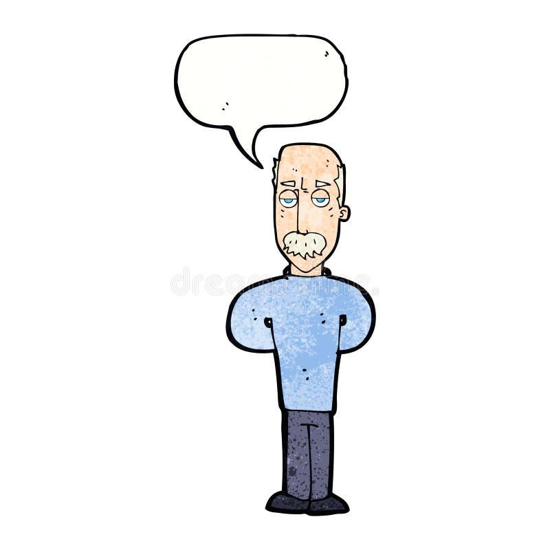 beeldverhaal geërgerde balding mens met toespraakbel royalty-vrije illustratie