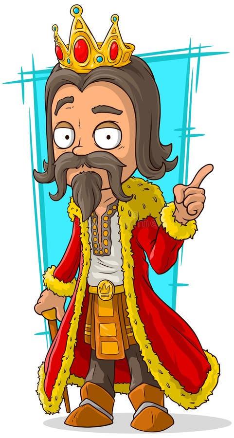 Beeldverhaal gebaarde koning met gouden kroon royalty-vrije illustratie