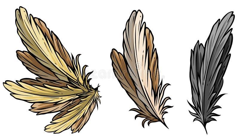 Beeldverhaal gedetailleerde vogelveren en vleugel vectorreeks vector illustratie