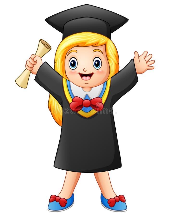 Beeldverhaal gediplomeerd meisje met diploma royalty-vrije illustratie