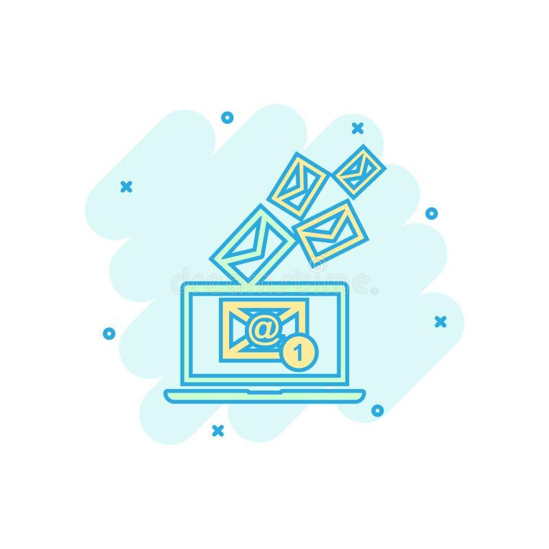 Beeldverhaal gekleurd e-mailenvelopbericht op laptop pictogram in grappig s vector illustratie