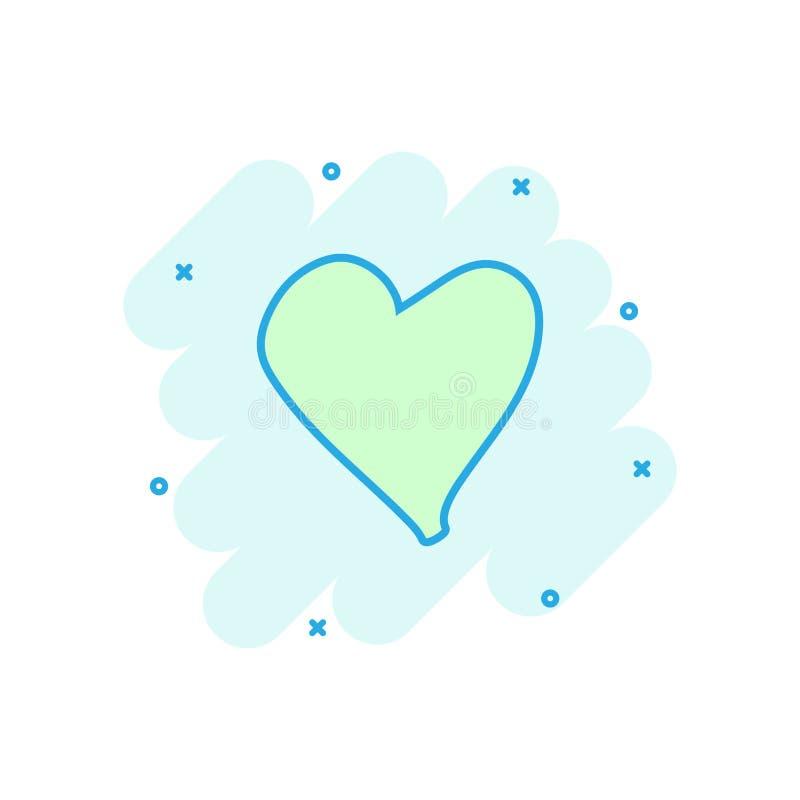 Beeldverhaal gekleurd hartpictogram in grappige stijl Liefdehand getrokken illus royalty-vrije illustratie