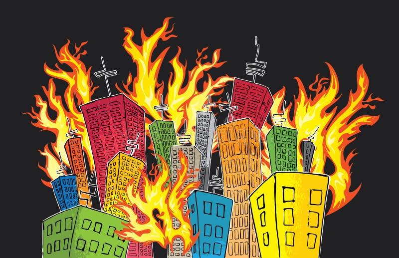 Beeldverhaal gekleurde skyscrapper voorstad die brand vangen stock illustratie