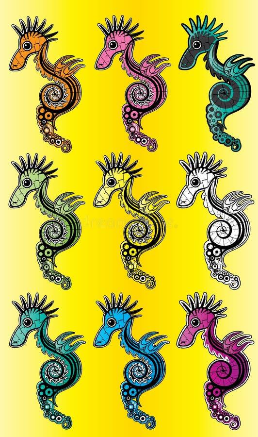 Beeldverhaal gekleurde zeepaardjeillustratie stock illustratie